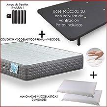 Dulces Sueños Pack COLCHON VISCOELASTICO Premium + Base TAPIZADA 3D + Patas + 2 Almohada VISCO