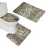 Bearbae Modèle Animal Tapis de bain Ensemble de 3pièces de salle de bain Tapis de couvercle pour abattant, flanelle, léopard, 45*75cm