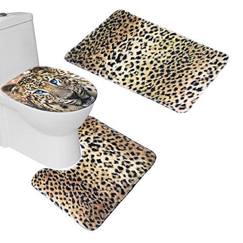 bearbae Animal Patrón alfombrilla de baño (Set 3piezas de alfombrilla de baño alfombra tapa para tapa de inodoro, Franela, leopardo, 45*75cm