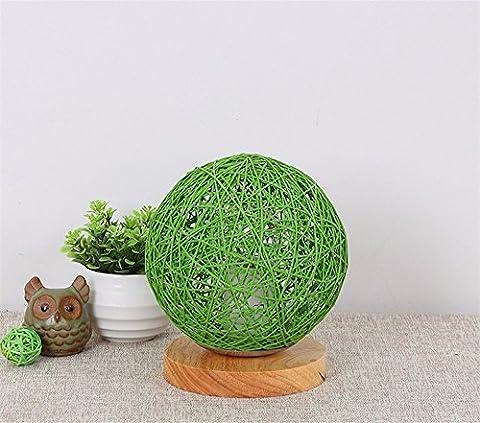 LikeIt Tischlampe Handgefertigte Rattan-gewebt für Schlafzimmer Wohnzimmer LED Nacht Nachttischlampe, grün