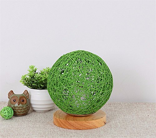 Preisvergleich Produktbild LikeIt Tischlampe Handgefertigte Rattan-gewebt für Schlafzimmer Wohnzimmer LED Nacht Nachttischlampe, grün