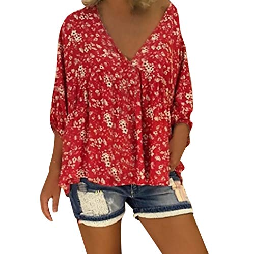 Bfmyxgs Women's Casual V-Neck Flower Floral Long Puff Sleeve Loose Top T-Shirt Blouse -