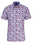 Olymp Luxor modern fit Hemd Halbarm New Kent Kragen Muster blau Größe 48