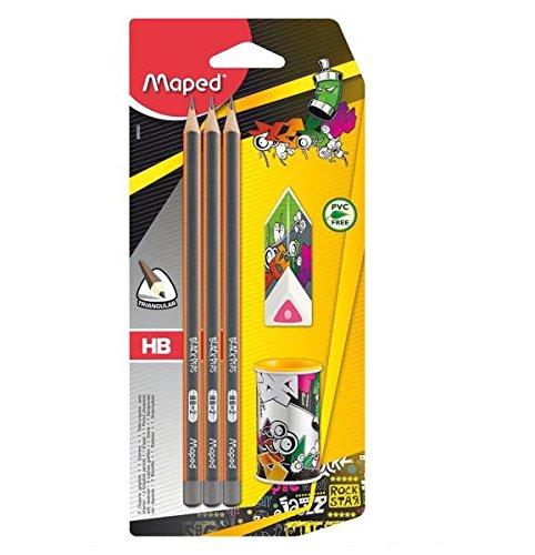 Schul-Set mit Anspitzer, Bleistift, Radierer
