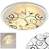 Runde Deckenlampe, florales Dekor, weiß-mattiert/schwarz, Deckenleuchte mit Lampenschirm aus Glas, 2 x E27-Fassung, max. 60 Watt, für Wohnzimmer, Schlafzimmer, Küche, Flur