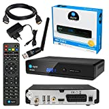 Satelliten SAT Receiver DVB-S2 Set: HB-DIGITAL HD 350S DVB-S/S2 Receiver + WLAN WiFi Stick (YouTube, RSS, Wetter) + HDMI Kabel vergoldet (Full HD, HDTV, HDMI, SCART, 2X USB 2.0, SPDIF Koaxial 12V)
