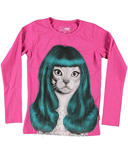 name it, Longsleeve Modell * Pets Rock* Shirt- Katze-Lady Gaga, pink (122/128)