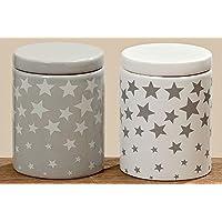 Contenitore stella con coperchio Bagno ovatta scatola per cosmetici in ceramica, Ceramica, weiss 2743800, H9 D7cm