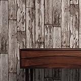 Descamación Tablas Clark y Clarke panel de madera Efecto De imitación papel pintado Color Marrón - Rollo Completo