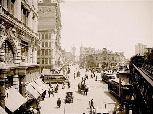 Posterlounge Leinwandbild 130 x 100 cm: Herald Square, New York von Bridgeman Images - fertiges Wandbild, Bild auf Keilrahmen, Fertigbild auf echter Leinwand, Leinwanddruck