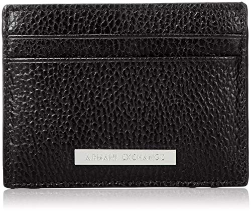 Armani Exchange Herren Credit Card Holder Geldbörse, Schwarz (Nero-Black), 1x10x7.6 cm -
