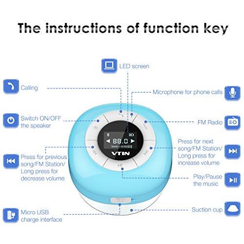 VTIN Mini Bluetooth 4.0 Lautsprecher Wasserdicht Wireless – Subwoofer Effekt für Handys - 4