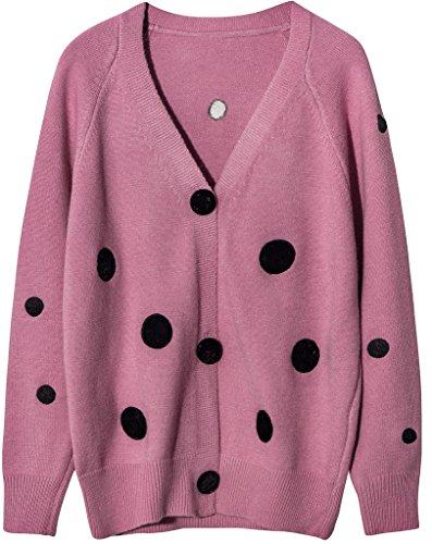 Vogueearth Damen's Lang Hülse Classic Polka Dots Knit Cardigan Strickjacke Sweater Sweatshirt Rosa (Tie-dye Dots)