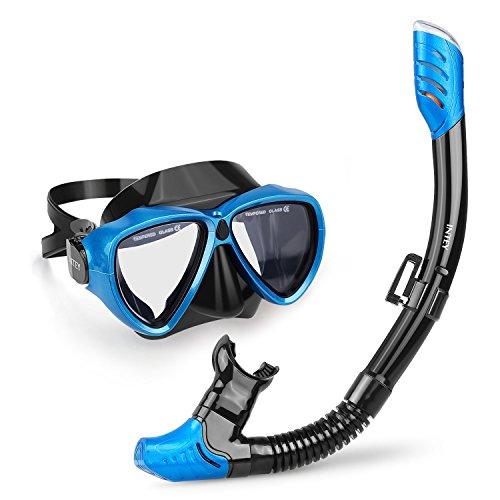 INTEY Masque et Tuba, Masque de plongée avec tuba, Adulte Plongée Snorkeling,Verre Anti-buée Étanche, Vision Large