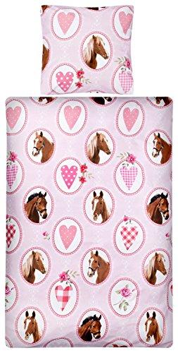 Aminata Kids - Kinder-Bettwäsche-Set 135-x-200 cm Pferd-e-Motiv Sache-n Mädchen Haus-Tier-e Zwei-teilig-e 100-% Baumwolle Renforce rosa pink braun Teenager-Jugendlich-e Herz-en (Und Braun Baby Mädchen Rosa Bettwäsche)