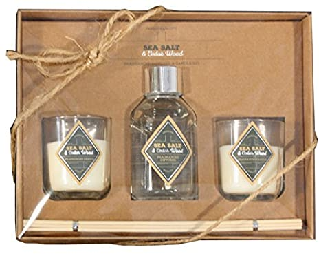 Vintage Style Glass Bottle Diffuser and Two Candles Set - Sea Salt and Cedarwood