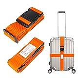 Linkax Correas de Equipaje Ajustable Cinturón de Seguridad para Maletas equipaje Seguridad Correas Accessorios de Viaje (2 Piezas,Naranja)