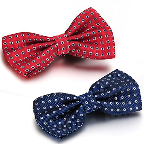 Bow Tie-overlay (JewelryWe 2 Lots of Casual Polka Dots Woven Pre-Tied Bow Ties Wedding Party Bowties for Men)