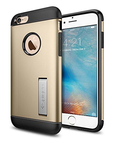 Foto Spigen Cover iPhone 6, Cover iPhone 6S [Slim Armor] Angoli Tecnologia a cuscino d'aria [Champagne Gold] Slim Fit Dual Layer Kick-Stand Protezione, Custodia Apple iPhone 6/iPhone 6S (SGP11607)
