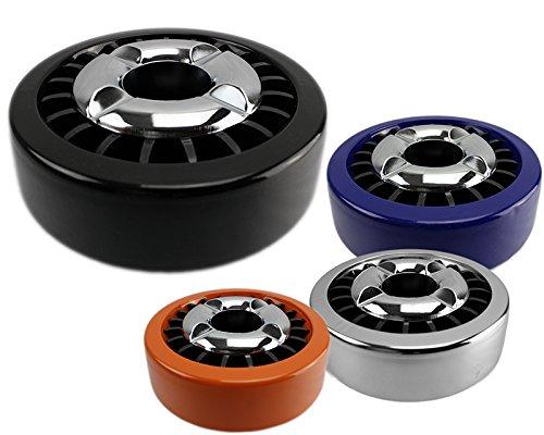 Luxus Aschenbecher mit Vielraucher Löschmulden Metall Aschenbecher Neu Farbwahl (schwarz)