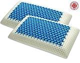 Marcapiuma - Coppia di Cuscini in Memory - Blue Air Massage - Ultra Traspirante Effetto Massaggio Fodera di Protezione 100% Cotone - Guanciale Memory Ortopedico Dispositivo Medico CE - Made in Italy