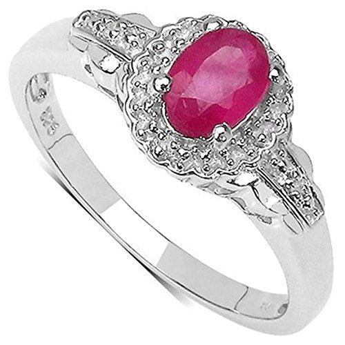 La Collection Diamants : Bague en Rubis et set les Diamants authentique dans des épaules, Bague en Argent, pour cadeau, Fiançailles ou Anniversaire, taille de la bague 54