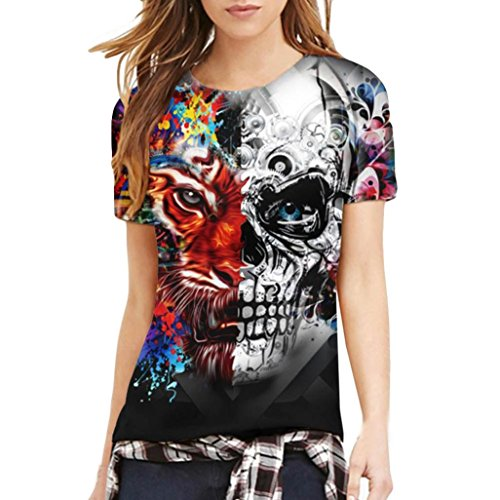 Paar Herren und Damen T Shirt Skull Head Digital 3D Druckt Rundhals Kurzarm T-Shirt Pullover Cool T-Shirt Sommer Top Bluse (XL, Damen Multicolour) (Xl Skull Head)