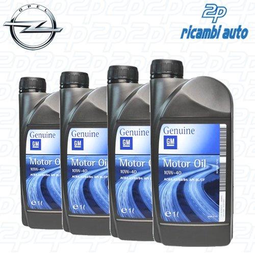 General Motor Oil 10w40 Olio Motore Semisintetico per Opel 4 barattoli da 1 litro = 4 Lit