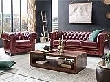 Woodkings® Chesterfield Sofa Set Rot 1+2+3 Vintage Echtleder Couchset Bürosofas Polstermöbel Set antik Designsofaset Federkern unikat Herrenzimmer englisches Leder Stilsofa Set