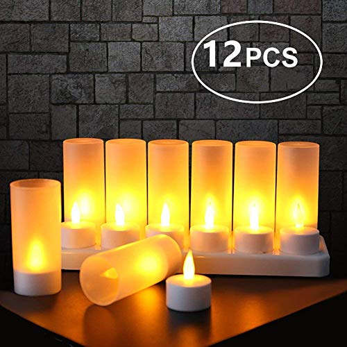 Expower 12er LED Flammenlose Kerzen,Wiederaufladbare Kerzen, Batteriebetriebene Kerzen Kabellose Teelichter LED-Weihnachtskerzen Kerzenlichter Led Wachskerzen Mit Ladestation(Ohne Netzteil)