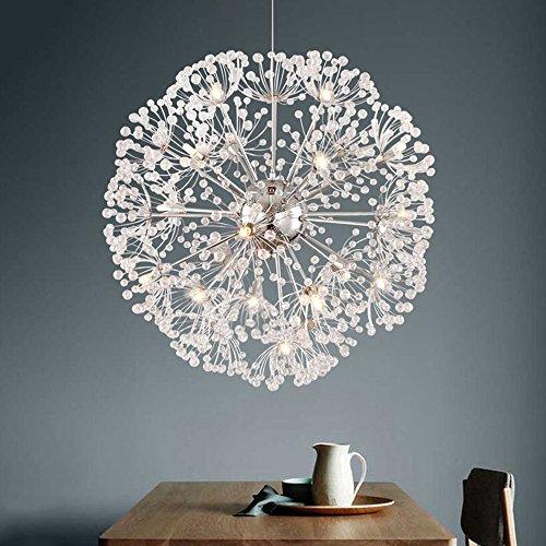 Moderne Pissenlit Led Boule De Cristal Pendentif Lumière Salle À Manger Restaurant Design Lampe Décor À La Maison Chrome Luminaire G4 Ampoule (taille : D35CM)