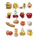 WopenJucy Stickers Cuisine Aliments Emoji Autocollant Décoration Murale Amovible DIY La Cuisine Salle A Manger Stickers Muraux Deco
