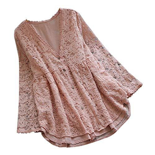 Tohole Kleid Damen Minikleid Sommerkleid Strandkleid Tunika Lose T-Shirt Hippie Bohemian Strandtunika V-Ausschnitt Tunikakleid Spitzenhemd FüR Kurzarm Kleider(Rosa,2XL)