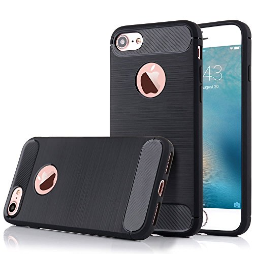 iPhone 5/5S/SE Hülle (4,0 Zoll), LCHULLE Flexible [Carbon Fiber Line Pattern] Pinsel Grip Soft TPU Silikon Hülle, Schock-Proofing [Rugged Armor] Resilient Ultimate Hybrid Rahmen Stoßstange Schutzhülle Abdeckung (Schwarz)