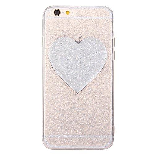 Phone case & Hülle Für iPhone 6 / 6s, Glitter Powder Herz Muster TPU Soft Schutzmaßnahmen zurück Fall Fall ( Color : Silver ) Silver
