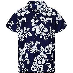 Funky Camisa Hawaiana, Hibiscus, azul, M