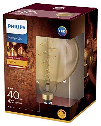 Philips LEDclassic Giant Dekolampe, Vintage Retro-Design ersetzt 40W, E27, Flame, Warmweiß (2000 Kelvin),6.5 W = 40 W, 470 Lumen, Globe, dimmbar, gold