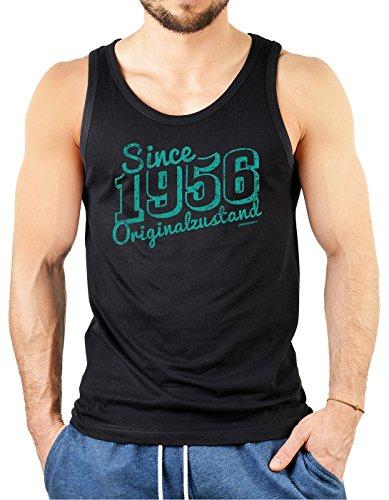 Herren Trägershirt, Tank Top, Muskelshirt zum Geburtstag - Since 1956 Originalzustand! Farbe: schwarz Schwarz