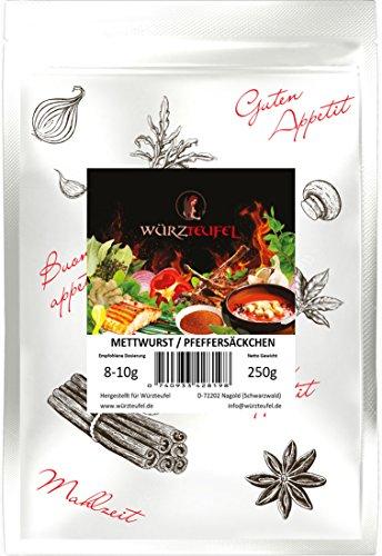 Grobe Mettwurst - Gewürz, Pfeffersäckchen grobe Teewurst Gewürzzubereitung ohne Geschmacksverstärker. Beutel: 250g.