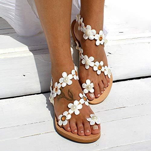 Seite Blume Sandalen (XAFXAH Sandalen Damen Sommer,Frauen Sandalen Böhmen Stil Sommer Schuhe Für Frauen Flach Sandalen Schuhe Blumen Flip Flops Plus Size, 38, Wie In Der Abbildung Gezeigt)