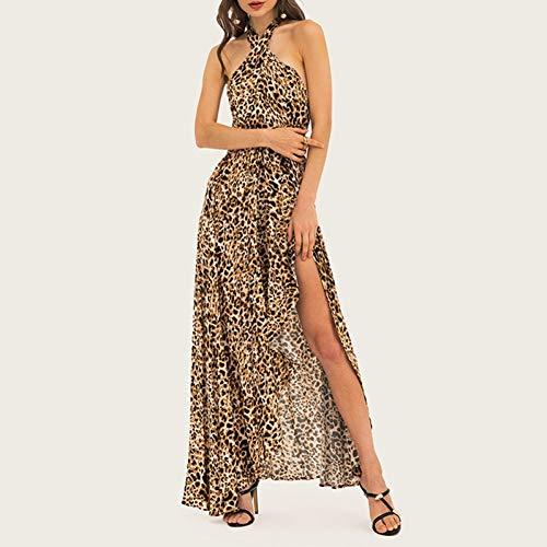 DELI S. Geschmack Frauen 2019 Leopard Gedruckt Halfter Kleid Sexy Club Party Split Kleid Neck Sexy Kreuz Zurück Wrap Roben Vestidos -
