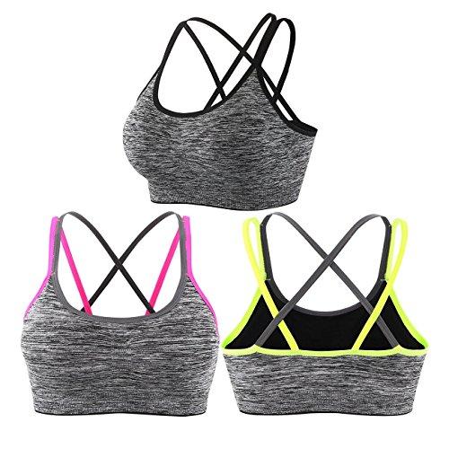 en 3er Pack bequem Komfort bügellos mit abnehmbare Polsterung Yoga BH ohne Bügel für Fitness(L, Mehrfarbig)(Verpackung/MEHRWEG) ()