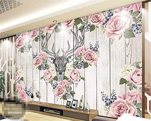 pete Vintage Handgemalte Hirschkopf Rose Holz Wandgemälde Moderne Dekoration Wohnzimmer 3D Tapete Wandbild, 150 × 230 cm ()