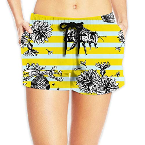 ERCGY Women's Beach Board Shorts Bees and Flowers Blue and Yellow Stripe Swim Trunks Briefs Swimsuit M - Little Lady Flower Girl Dresses