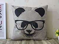 "Decorative Cotton Linen Square Throw Pillow Case Cushion Cover Panda with Glasses Pillowcase 18 ""X18 """