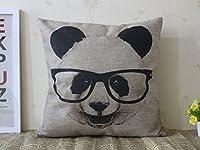 "Decorative Cotton Linen Square Throw Pillow Case Cushion Cover Panda with Glasses Pillowcase 18 ""X18 """