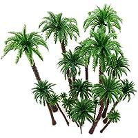 20Pc Palmeras de coco Modelo árboles Diseño del modelo Tren Palmera de selva tropical, Artificial Plastic Layout Diorama de selva tropical, Árboles modelo de construcción Cake Topper Ferrocarriles
