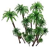 Hatisan-Pro 20 Stück Modell Bäume Coconut Palmen Diorama Modelle/Modellbahn Landschaft, Künstliches Plan-Regenwald- Architektur Bäume des Plastiks, Gebäudemodell Baum Kuchen Deckel