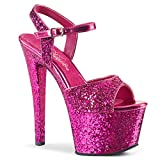 Pleaser SKY-310LG Damen Plateau High Heels, Glitter Hot Pink, EU 38 (US 8)