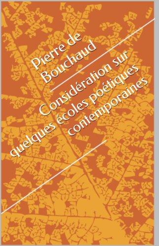 Download Online Considération sur quelques écoles poétiques contemporaines epub, pdf